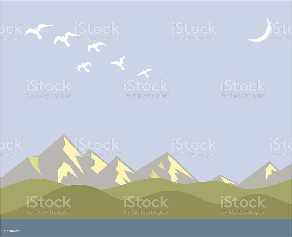 Mountains vector art illustration