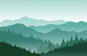 Mountains vector landscape. Nature background in green colors.