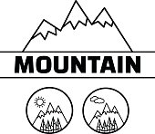 Mountains vector symbol. Mountain rock outdoor labels.