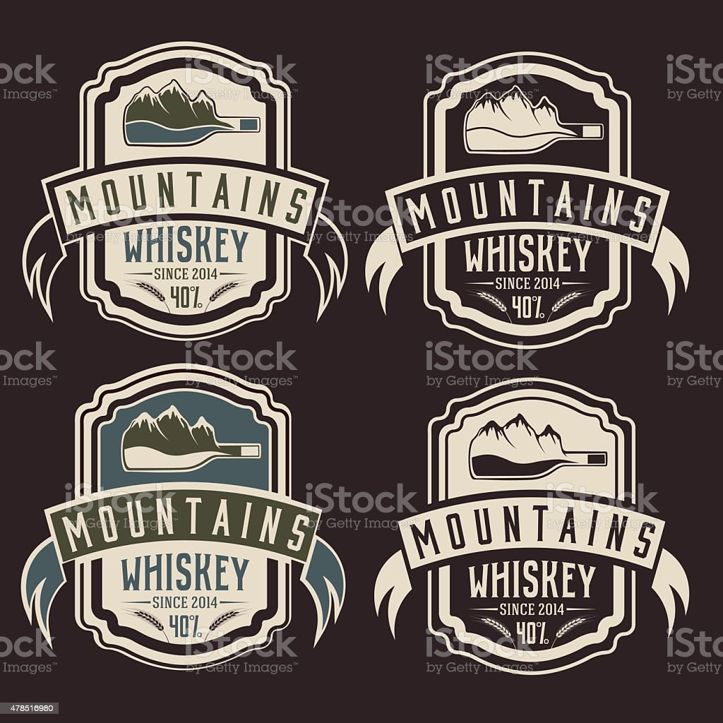 mountains whiskey vintage labels set vector art illustration