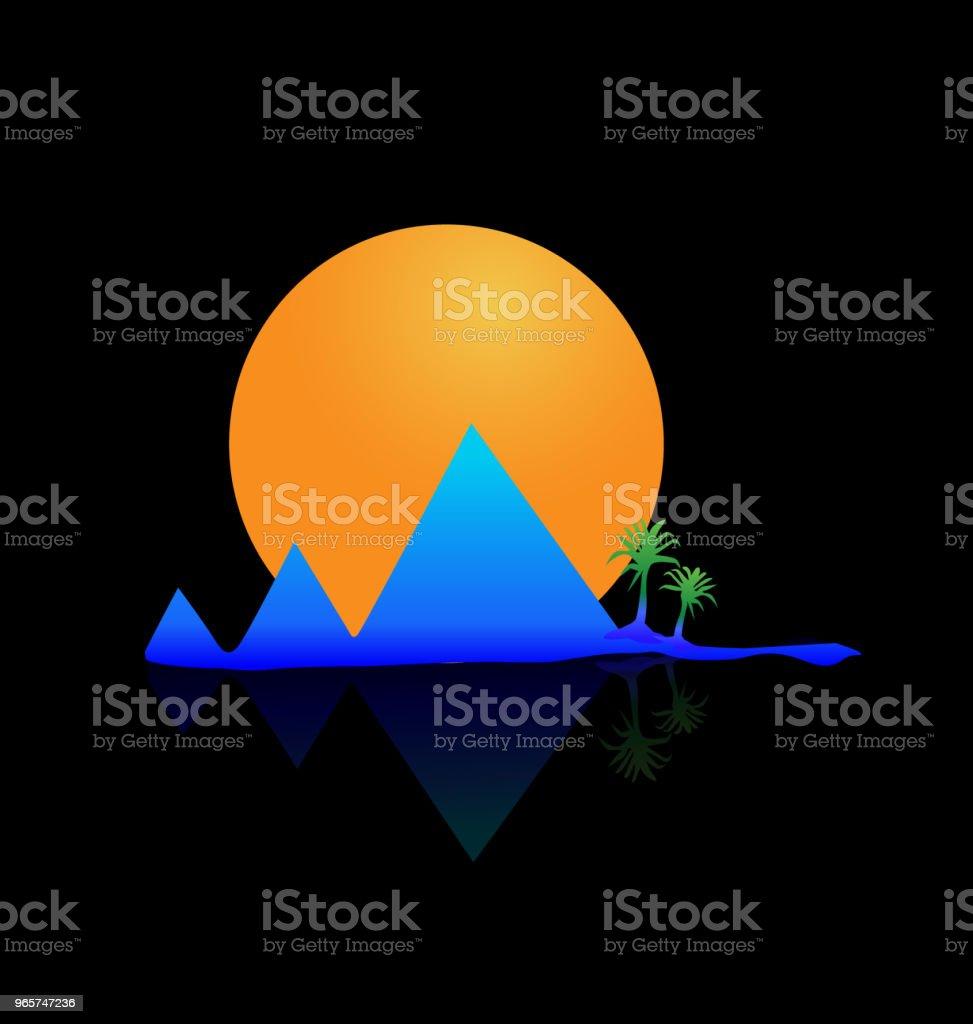 Berg, zon en palm tree vector afbeelding pictogrammalplaatje - Royalty-free Abstract vectorkunst