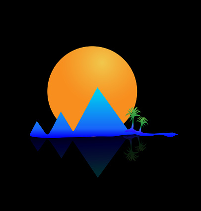 Berg Zon En Palm Tree Vector Afbeelding Pictogrammalplaatje Stockvectorkunst en meer beelden van Abstract