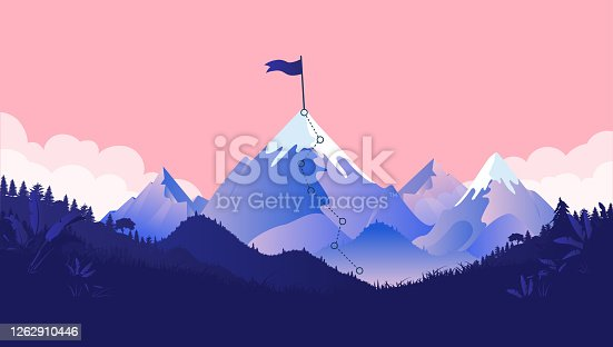 Path to mountain summit with snow and flag on top. Coral coloured background, forest and clouds. Business goals, achievement and challenge concept. Vector illustration.