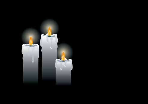 Mourning burning candles on a black background frame vector