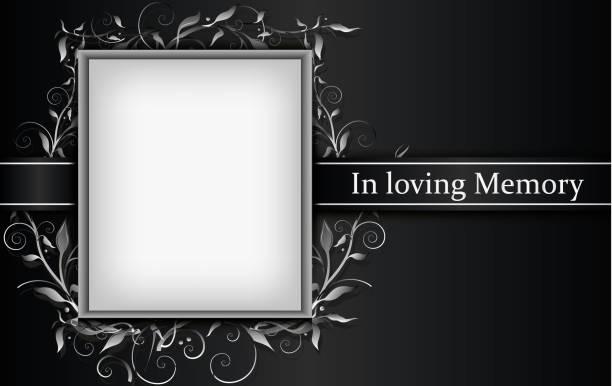 illustrazioni stock, clip art, cartoni animati e icone di tendenza di mourning card standard size with photo frame isolated on grey background - funerale