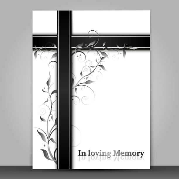 ilustraciones, imágenes clip art, dibujos animados e iconos de stock de tarjeta de duelo con adorno de efecto 3d y en el texto de la memoria amorosa aislado en fondo gris - comfort