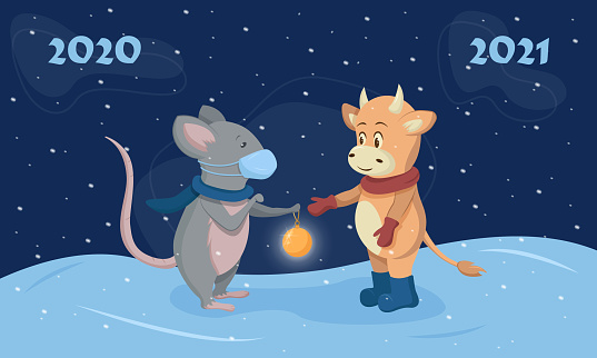Mouse and bull, symbols of the Chinese new year. Merry Christmas and happy new year 2021.