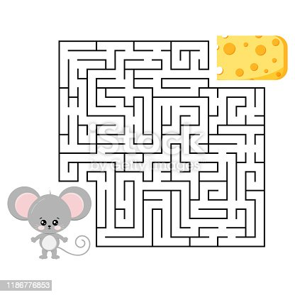 Mouse and cheese maze game for kids education isolated on white. Help cute grey rat to find right road to delicious piece of cheese in labyrinth. Vector illustration in cartoon style. Flat design.
