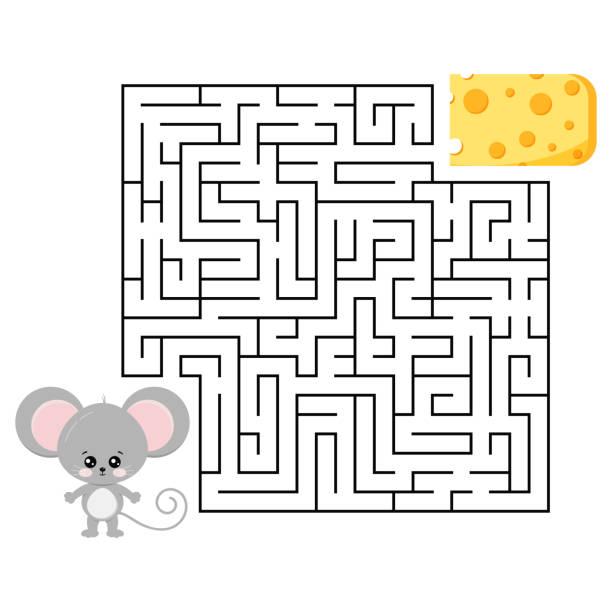 흰색 배경에 고립 된 어린이 교육을위한 마우스와 치즈 미로 게임. - 미로찾기 stock illustrations