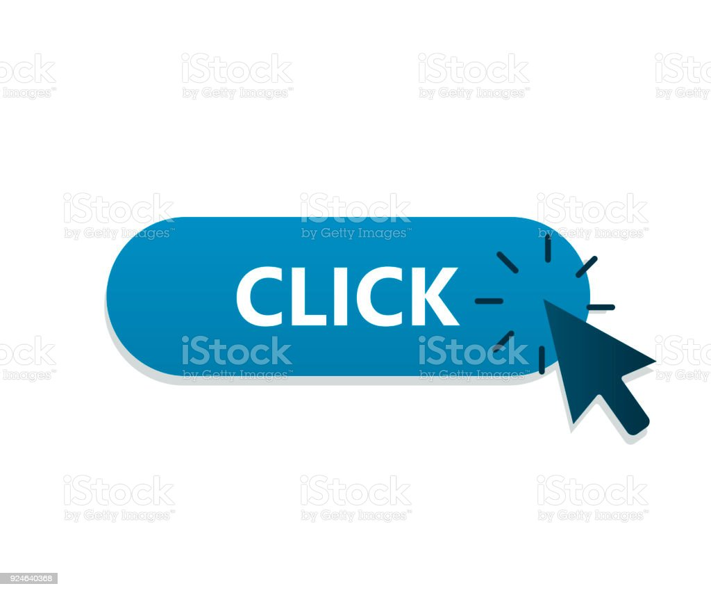 Mouse arrow clicking on button. Vector illustration