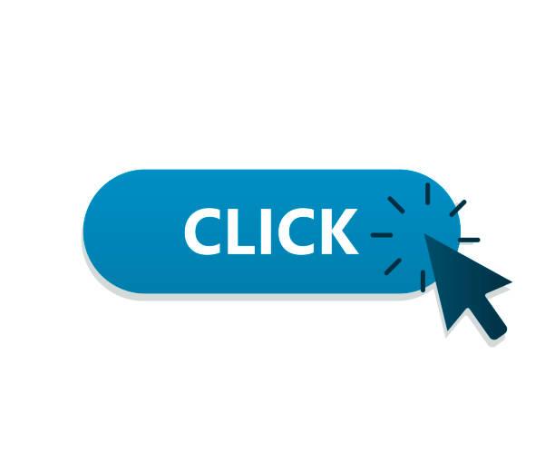 stockillustraties, clipart, cartoons en iconen met muis pijl op de knop te klikken. vectorillustratie - computermuis