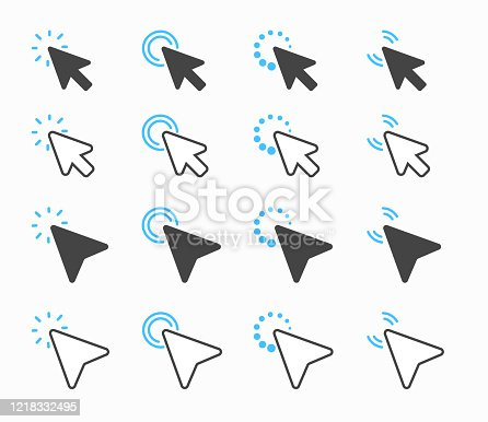 istock Mouse arrow set For specifying the location of the mouse movement on the website 1218332495