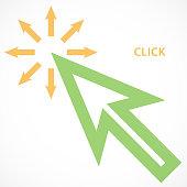 Mouse click arrow symbol.