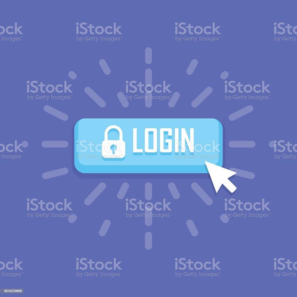 Mouse click on login icon. Vector illustration vector art illustration