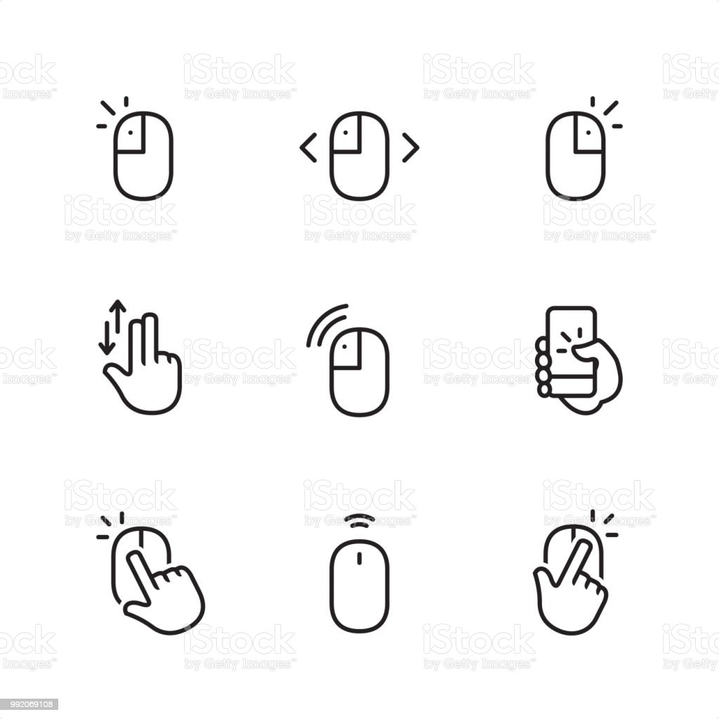 Mouse Click Pixel Perfect Outline Icons Stock Illustration