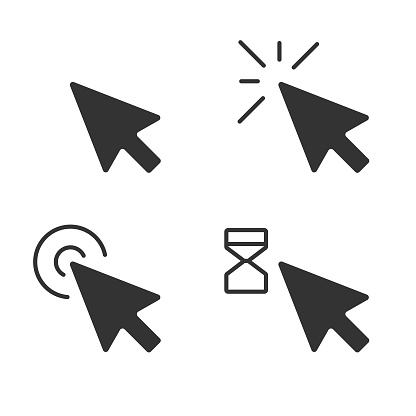 Mouse Click Pointer Icon Set and Computer Mouse Flat Design.
