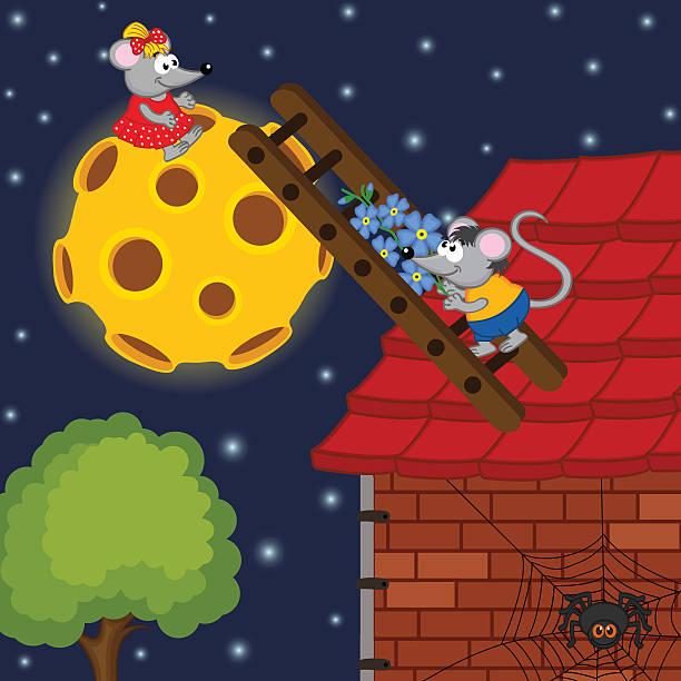 illustrations, cliparts, dessins animés et icônes de escalade l'échelle de la souris sur la lune - cage animal nuit