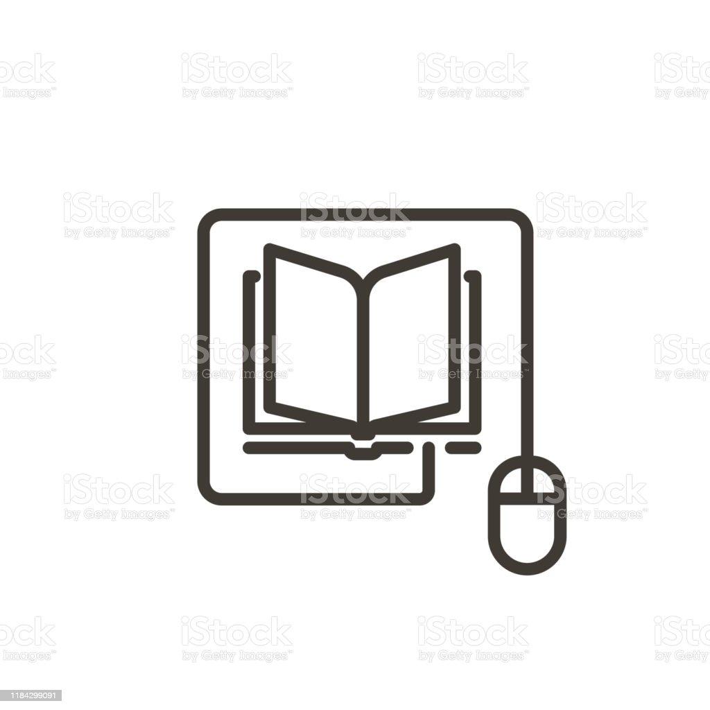 Mouse conectado a um ícone do livro. Ilustração moderna da linha fina do vetor para conceitos da leitura em linha, da e-aprendizagem, da instrução em linha, dos artigos e dos Web site da notícia - Vetor de Aberto royalty-free