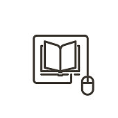 istock Mouse connected to a book icon. Trendy vector thin line illustration for concepts of online reading, e-learning, online education, articles and news websites 1184299091