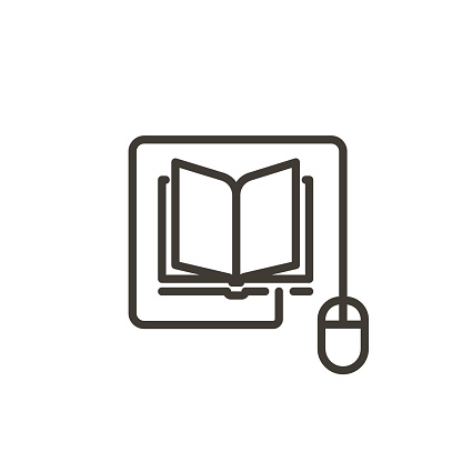 Mouse connected to a book icon. Trendy vector thin line illustration for concepts of online reading, e-learning, online education, articles and news websites