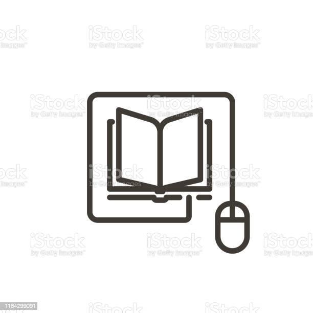 Vetores de Mouse Conectado A Um Ícone Do Livro Ilustração Moderna Da Linha Fina Do Vetor Para Conceitos Da Leitura Em Linha Da Eaprendizagem Da Instrução Em Linha Dos Artigos E Dos Web Site Da Notícia e mais imagens de Aberto