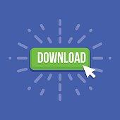 Mouse cursor clicks the download button