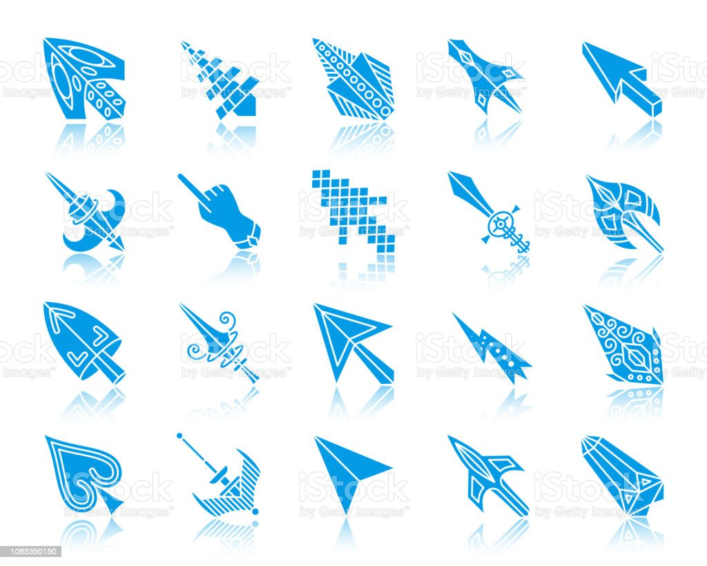 Mouse Cursor Color Silhouette Icons Vector Set Stock