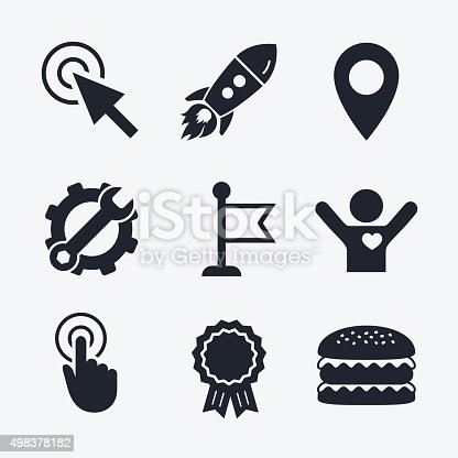 Mouse Cursor Icon Hand Or Flag Pointer Symbols Stock Vector Art