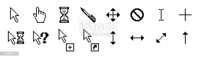 Mouse Cursor Icons - Pixel and Vector stock illustration