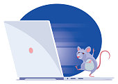 vector illustration of mouse dancing on laptop