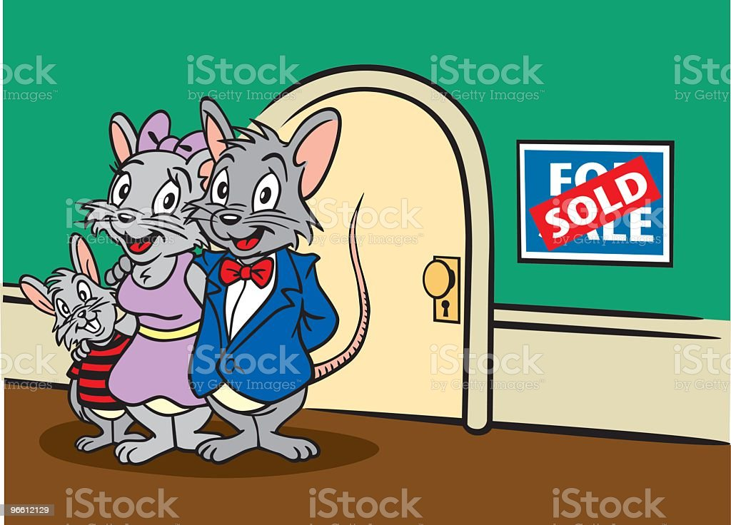 Mouse Family Selling Home - Royalty-free Animal stock vector