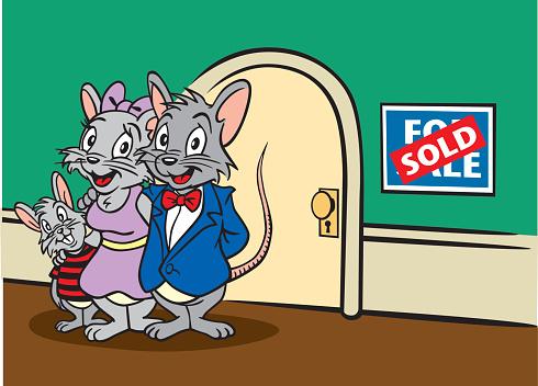 Mouse Family Selling Home Stockvectorkunst en meer beelden van Bord - Bericht