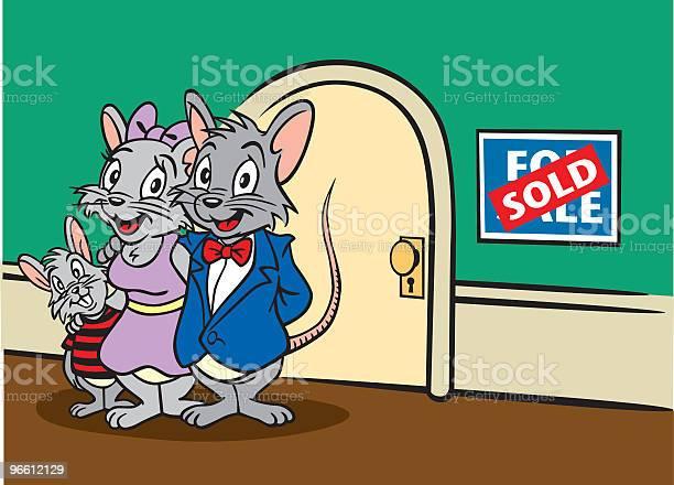 Семьи Продажи Дома Мыши — стоковая векторная графика и другие изображения на тему For Sale - английское словосочетание
