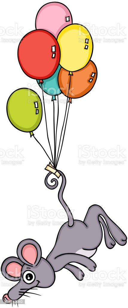 Mouse flying with balloons royalty-free mouse flying with balloons stock vector art & more images of animal