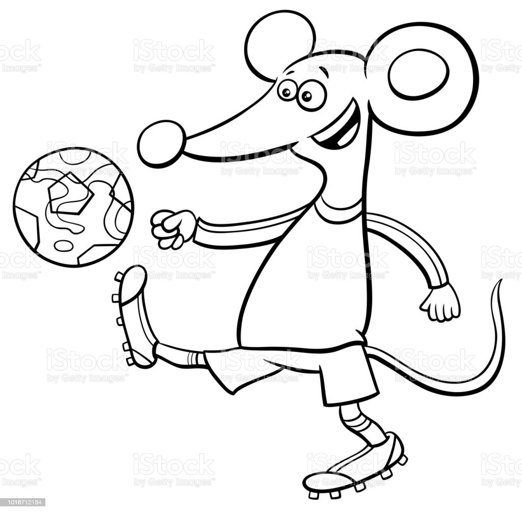 Mouse Football Player Character Coloring Book Stock Vector Art ...