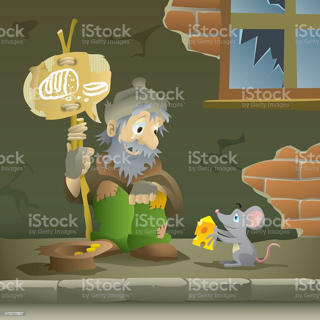 Mouse Giving Hungry, Homeless Man Cheese vector art illustration