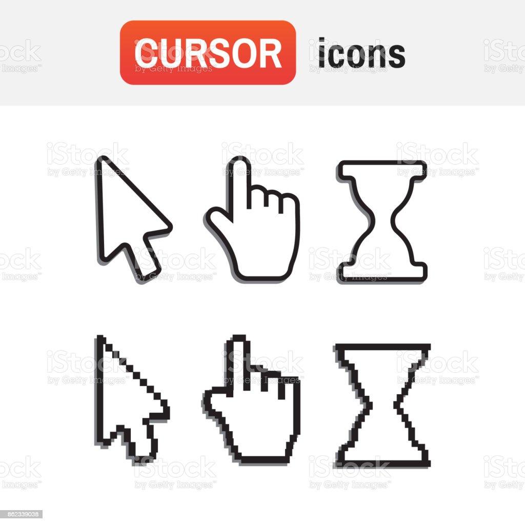 mouse hand arrow. Pixel cursors icons mouse hand arrow vector art illustration