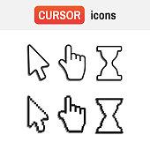 mouse hand arrow. Pixel cursors icons mouse hand arrow