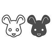 Mouse head line and solid icon. Cute rodent rat face, simple silhouette. Animals vector design concept, outline style pictogram on white background, use for web and app. Eps 10