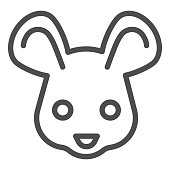 Mouse head line icon. Cute rodent rat face, simple silhouette. Animals vector design concept, outline style pictogram on white background, use for web and app. Eps 10