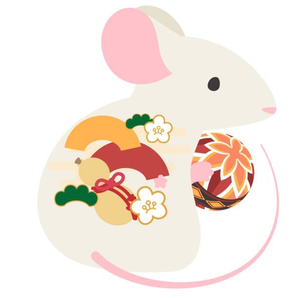 日本の伝統的なボールを持つマウス ベクターアートイラスト
