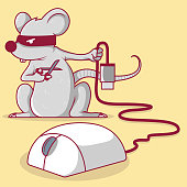 Mouse holding a scissor cutting the usb cord of a mouse vector illustration.