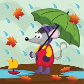 mouse in rain autumn
