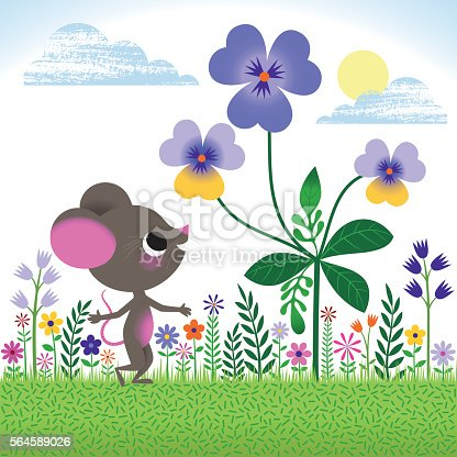 Mouse standing under the Flowers in the Garden.