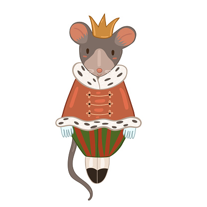 Mouse king isolated on white background. Vector graphics