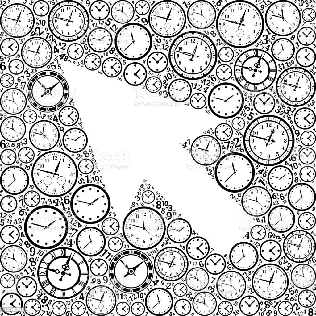 Mouse Pointer On Time And Clock Vector Icon Pattern Stock Vektor Art ...