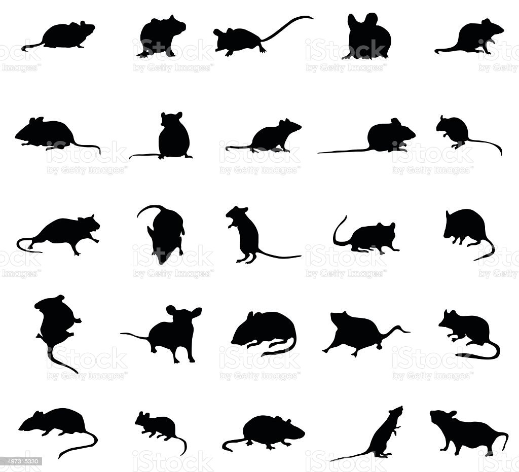 Mouse silhouettes set vector art illustration