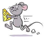 Vector illustration of a cute little mouse running with a peace of cheese in its hands, isolated on white.