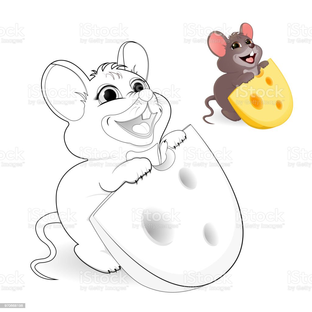 Maus Mit Käse Malvorlagen Stock Vektor Art und mehr Bilder von ...