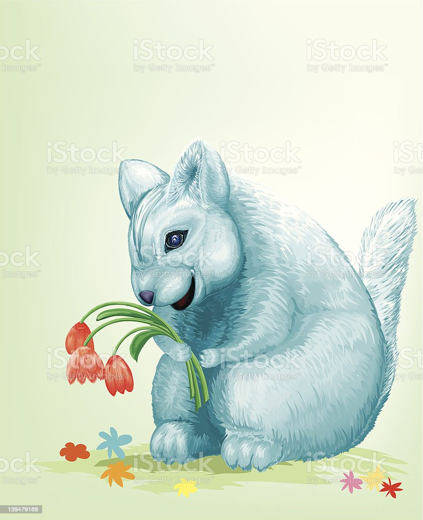 Mouse with Flowers royalty-free stock vector art